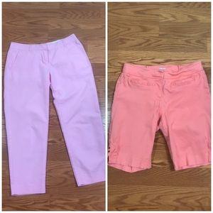 Cache&J.Crew Women's Set Pant+Short Pink Peach 🍑